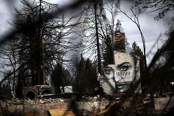 Художник в Калифорнии создал серию граффити на развалинах Парадайса