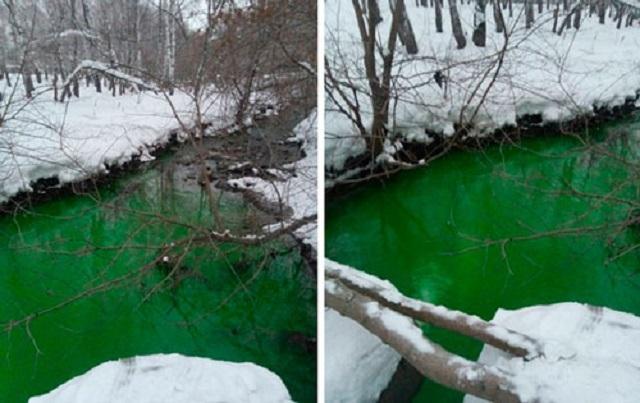Вода в челябинском Миассе стала ядовито-зеленой