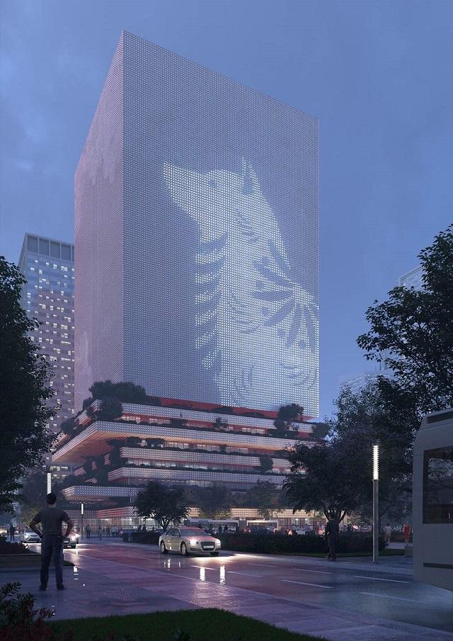 Голландские и китайские архитекторы разработали проект пиксельной башни-
